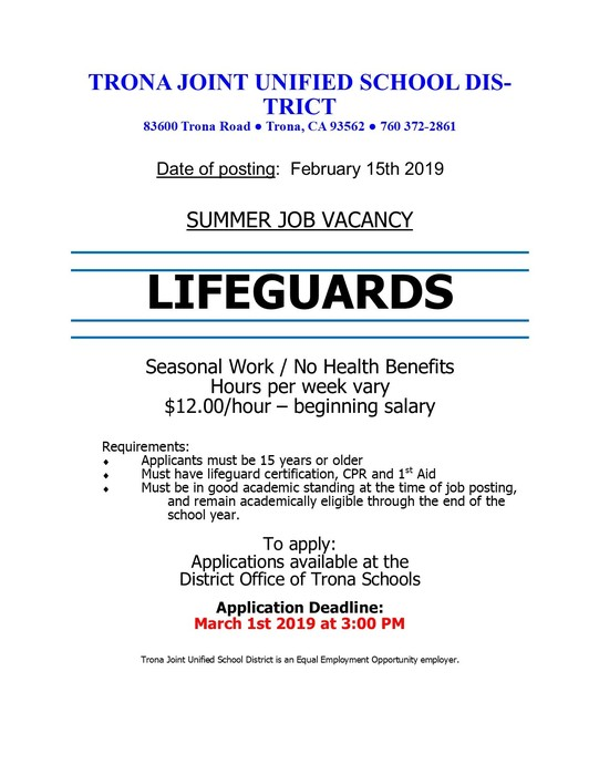 Flyer for Lifeguards