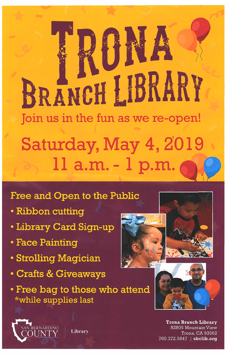 Flyer for Trona Library Reopening May 4th