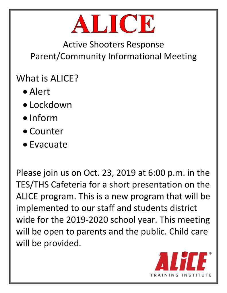 ALICE Flyer Active Shooter Community Meeting for October 23,2019 at 6:00pm