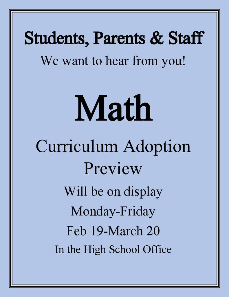 Math Curriculum Adoption Preview