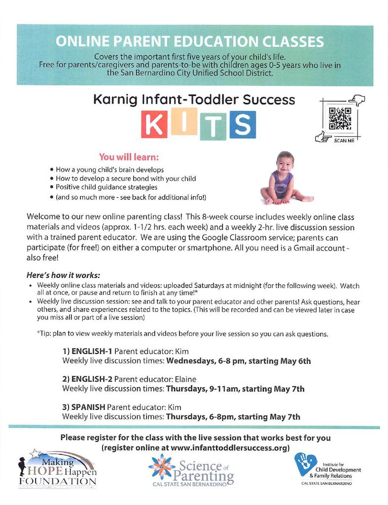 Flyer for Parenting Classes