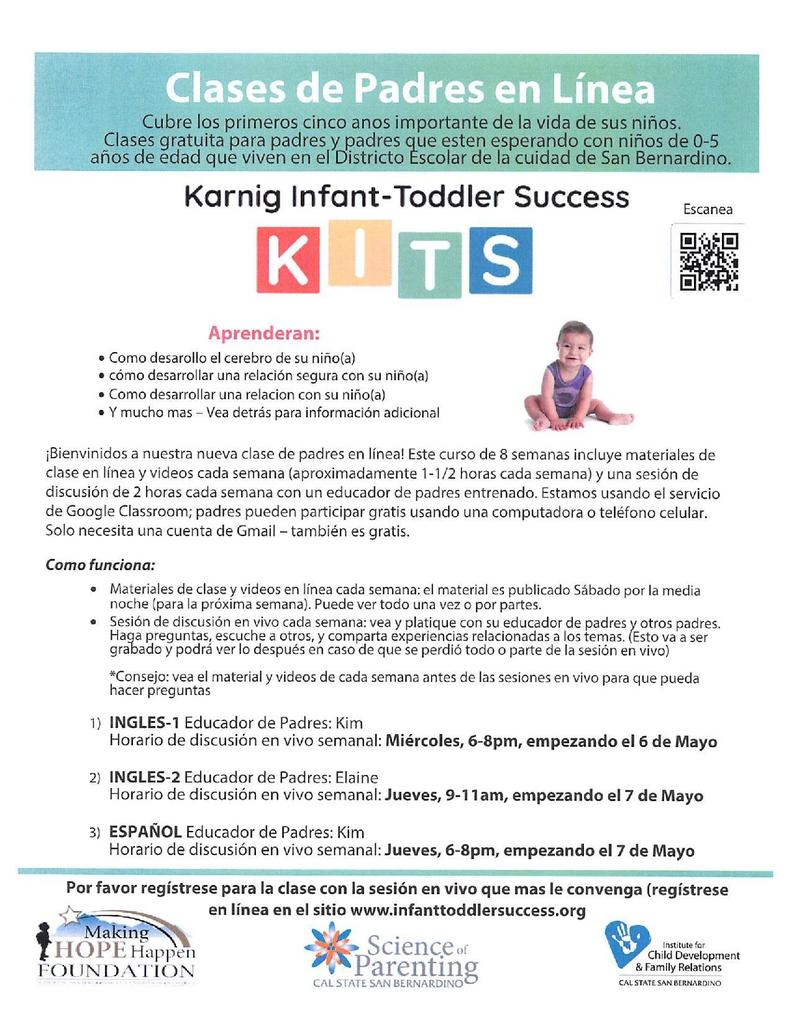 Flyer for Parenting Classes Spanish