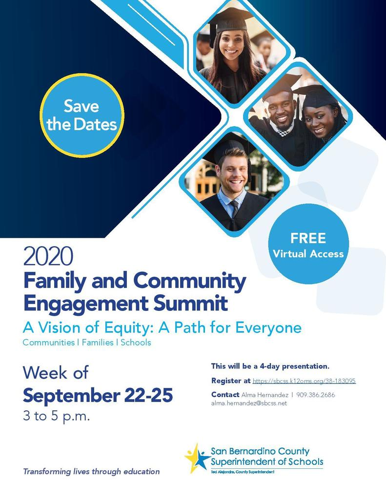 Family and Community Engagement Summit Flyer